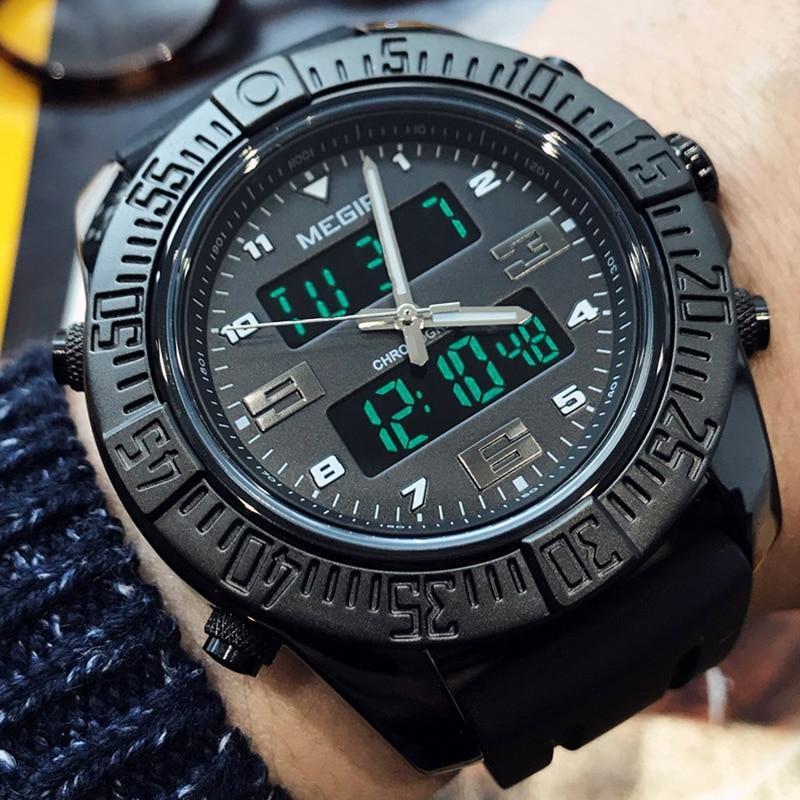 1be8455ab39 MEGIR Militar dos homens LEVOU Digital Sports Relógios Moda Quartzo  Analógico Relógio De Pulso Dos Homens À Prova D  Água Relógio Masculino  Relogio ...