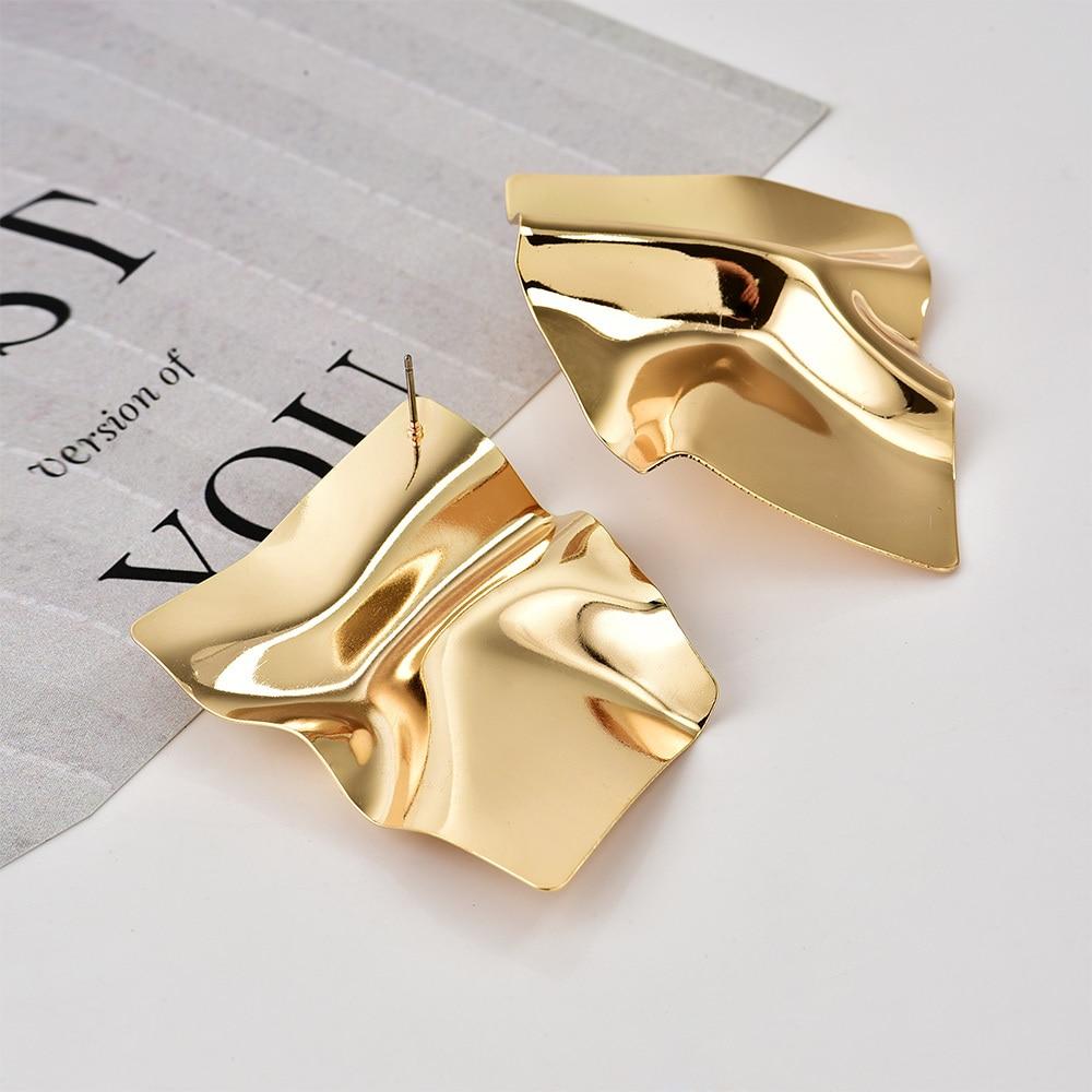 2018 New European Classic Gold Color Irregular Square Geometric Earrings For Women Fashion Temperament Earrings Jewelry