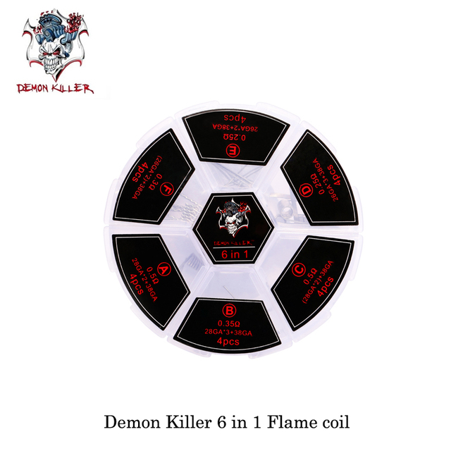 (24pcs/lot) elektronik sigara Vape Demon Killer Ni80/SS316 6 in 1