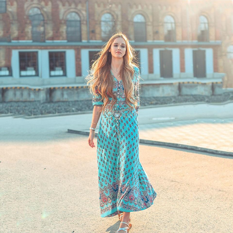 2018 Boho V Neck Women Long Dress Split Floral Print Summer Blue/Black/Pink Dresses Half Sleeves Beach Maxi Vestidos