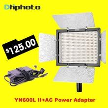 Yongnuo YN600L II 3200 K-5500 K LED con los Ojos de Halcón Adaptador de CA Conjunto Soporte de Control Remoto por Teléfono App para entrevista