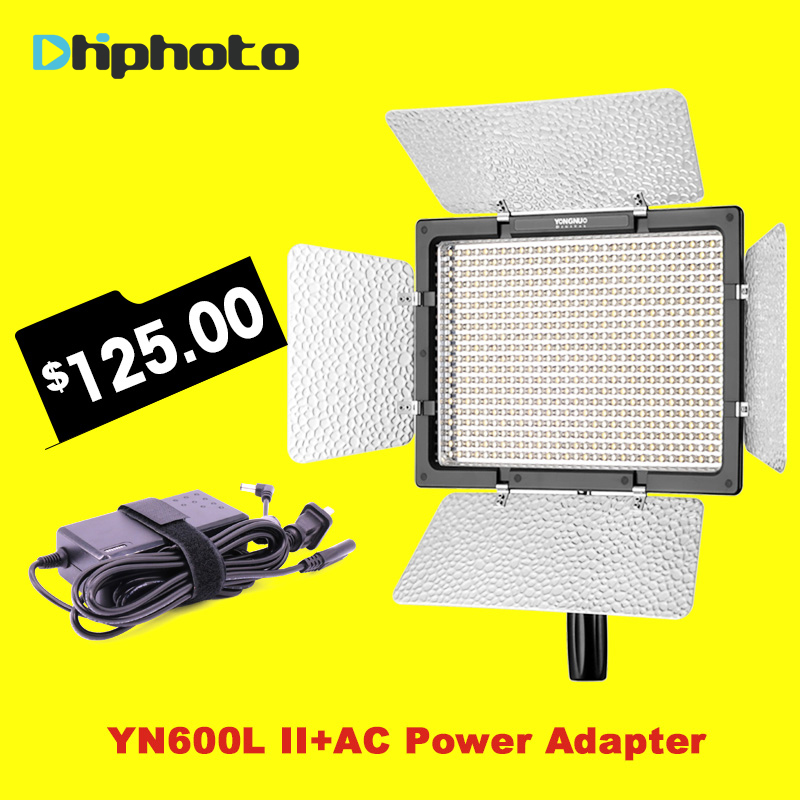 Yongnuo YN600L II 3200K-5500K LED Video Light with Falcon Eyes AC Adapter Set Support Remote Control by Phone App for Interview