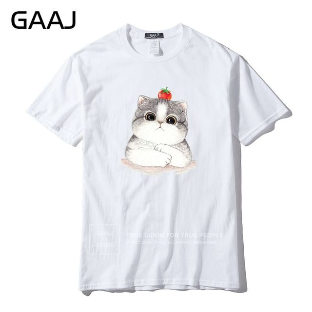 GAAJ Brand Womens T Shirt Funny Cartoon Dad Mom Baby Family Cat Father Birthday Gift