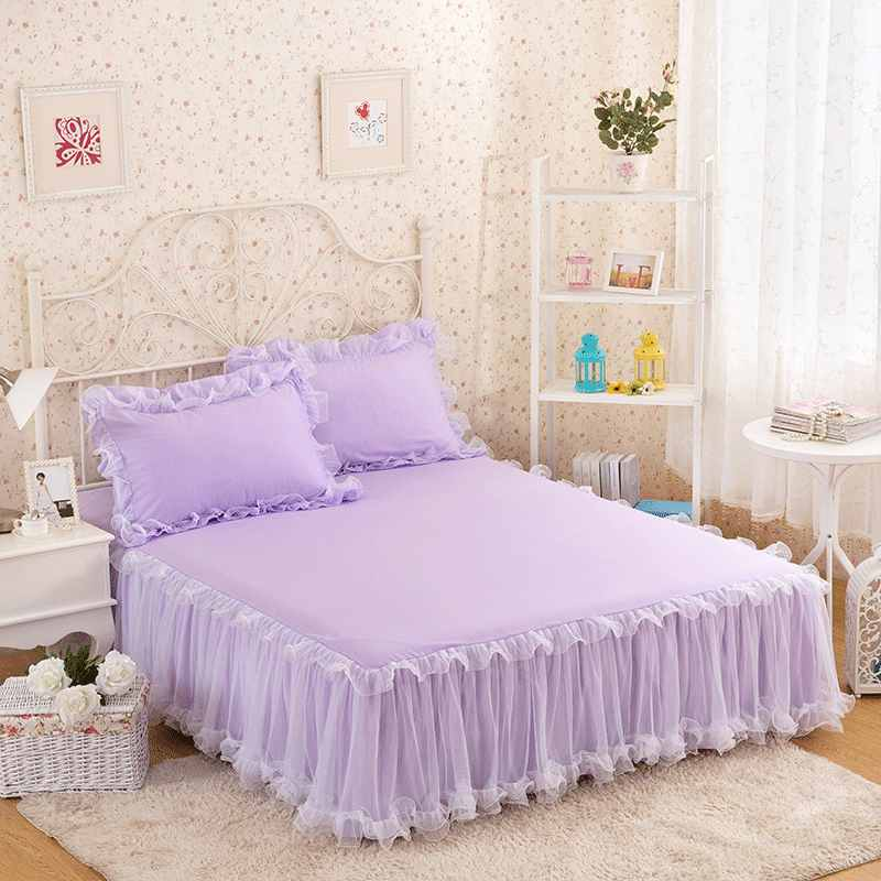 White/Pink/Purple Lace Bed Skirt Princess Bedding King Queen Solid Color 1/3pcs Bedspreads For Girls Bed Sheet Set Pillow Case