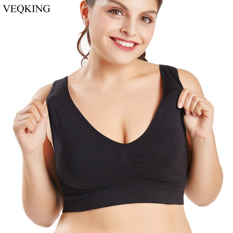 VEQKING M-XXL XXXL 4XL 5XL 6XL Big Size Sports Bra Black White Breathable Wire Free