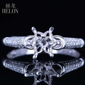 HELON 6mm Round Semi Mount Ring Setting Real 10K White Gold Natural Diamond Wedding Engagement Ring Women Exquisite Fine Jewelry image