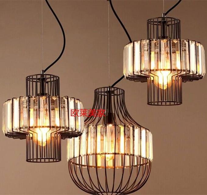 Retro  Iron restaurant corridor Ceiling Light cage glass crystal hanging lamp