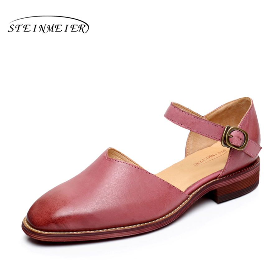 Genuine Leather flat Sandals shoes yinzo women US size 8 handmade brown red grey vintage Square Toe British style 2017 genuine leather flat shoes women size 8 yinzo handmade beige brown vintage round toe british oxford shoes for women 2017