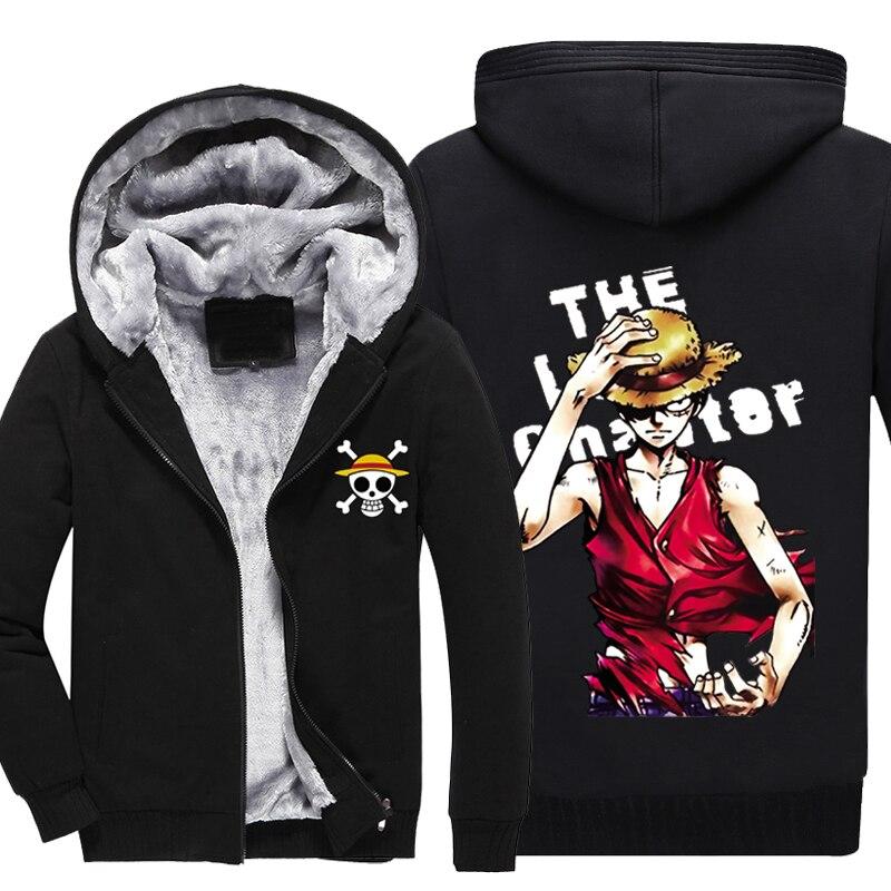 ONE PIECE New winter coats hoodie jackets light Anime Hooded Zipper men thick cardigan cosplay anime Luffy cartoon