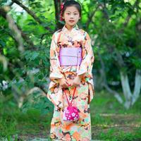 Novelty Japanese Girls Kimono Children Yukata Print Floral Elegant Formal Dress Kids Girl Cosplay Costume Stage Show Clothes