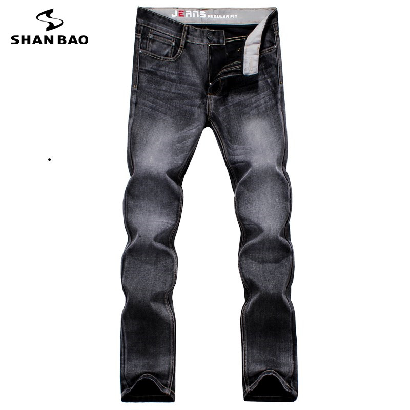 SHAN BAO brand clothing fashion dark gray jeans 2017 autumn and winter high quality cotton men's casual Slim trousers SB7G580 паяльник bao workers in taiwan pd 372 25mm
