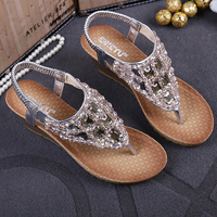Women S Sandal 2017 Summer New Bohemian Slope With Women S Shoes European And American Diamond
