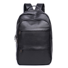 New mens leather large-capacity backpack Business travel Leather soft computer bag