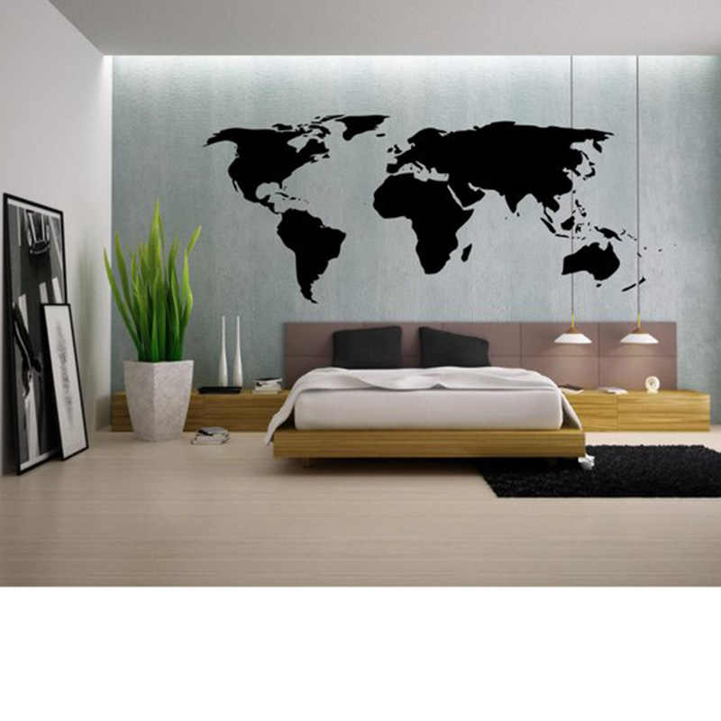 Large World Map Wall Decal Outline World Map Sticker Home Bedroom Living Room Decor Removable Adhesive Vinyl Wall Mural C45