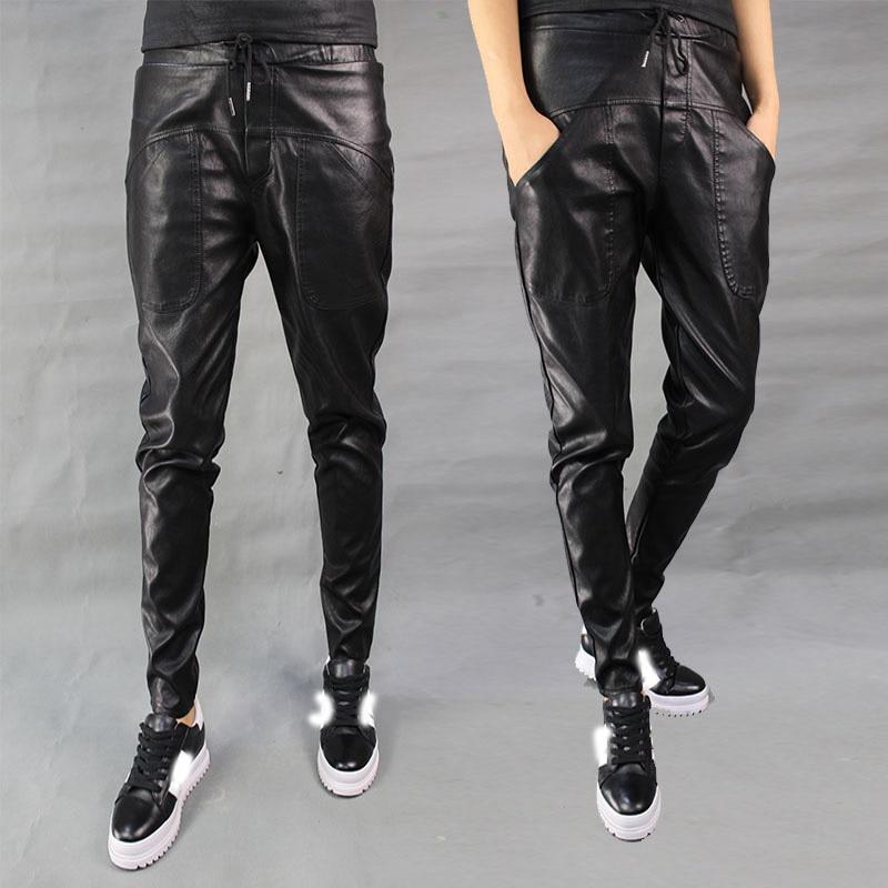 Femmes PU cuir pantalon femmes automne taille élastique Skinny cheville longueur Harem pantalon Slim Faux Harlan cuir pantalon pour femme
