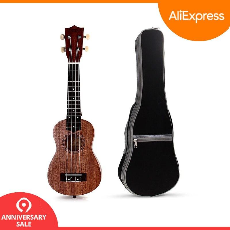 Деревянная Гавайская гитара 21 дюймов мини-укулеле + Гавайские гитары укулеле сумка гитары строка инструмент подарок для девочек детей начи...