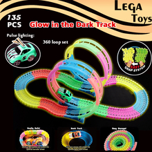 Glow race track Colorful bright Flash in the Dark Flexible Assembly Spinning 360 Loop Electric Car Track with Light-Up LED Car