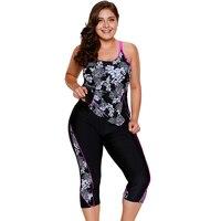 Women Plus Size Swimwear Print Tankini Top & Sports cropped Pants Fitness Two Piece Swimsuit Beach Wear Bathing Suits S~3XL