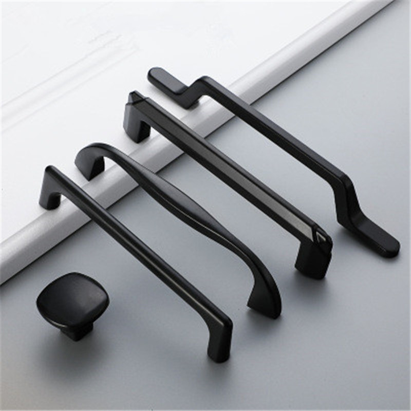 2pc Alloy Cabinet Door Handle and Furniture Knobs Kitchen Cabinet Black Drawer Pulls Solid Long Fashion Hardware Accessories