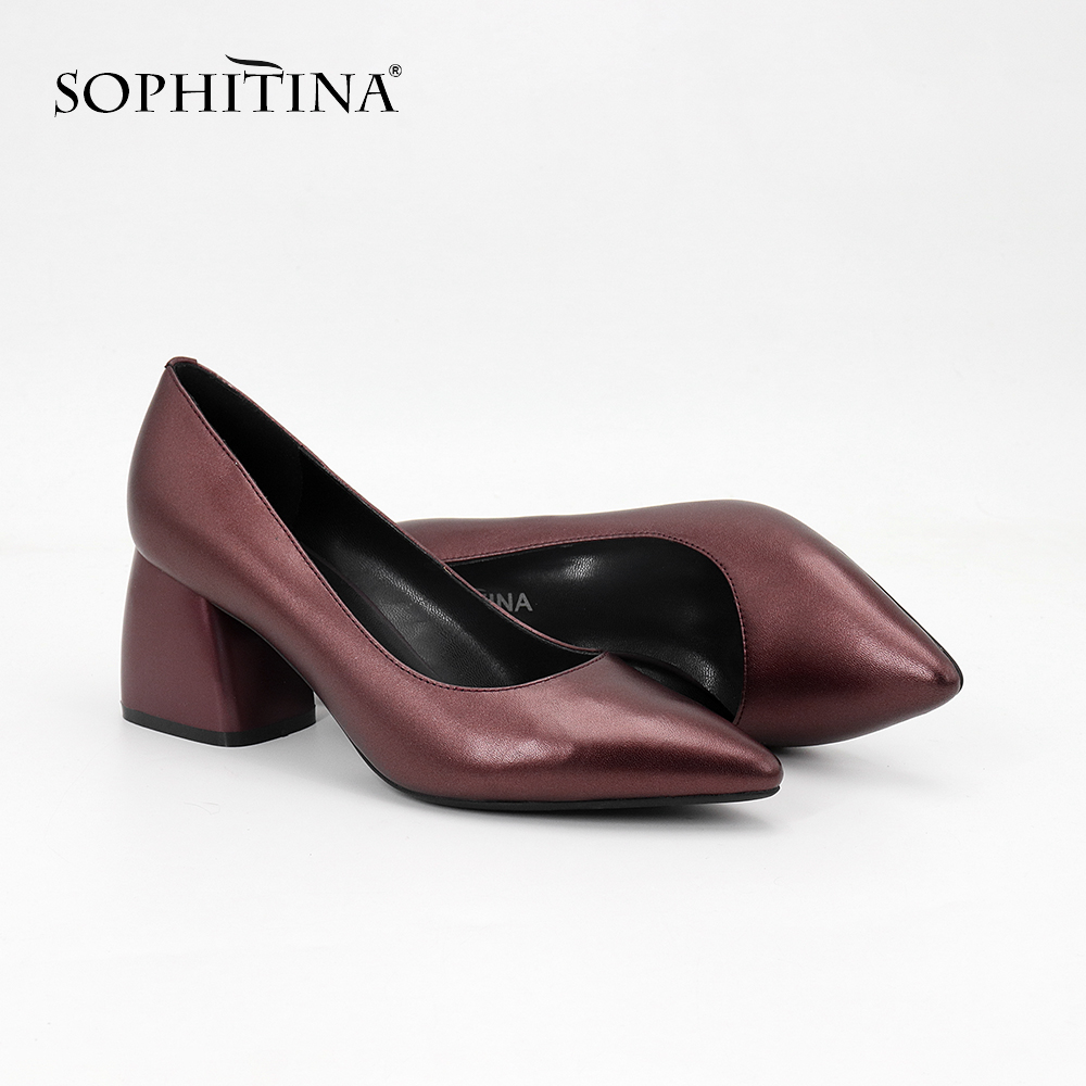 SOPHITINA 2019 Classics Women's Pumps High Square Heel Cow Leather Career Pointed Toe Slip-On Shoes Fashion Shallow Pumps SC27