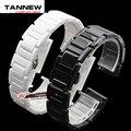 14mm 16mm 18mm 20mm Plata Depolyment Hebilla de Reloj y Reloj de Cerámica Blanca de Alta calidad Bandas Pulseras común