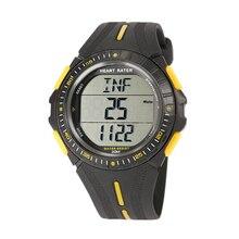 Многофункциональный спортивные двойной время импульса сердечного ритма Мониторы часы W/нагрудный Цвет: черный + желтый