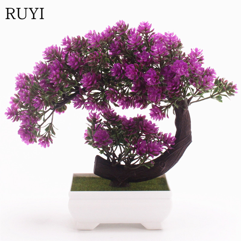 Creativity New Artificial Flowers + Vase Bonsai Of Plant Flower Potted Fake Plants For Wedding Home Party Hotel Decoration 1 Set