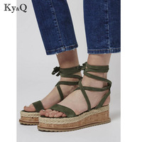 Summer muffin fish head women tie sandals with platform sandals wild simple shoes shook with students in