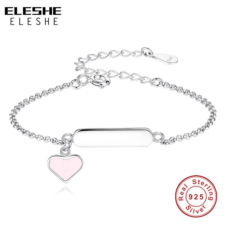 a094c7a37ead ELESHE personalizado nombre pulseras para los niños de esmalte Rosa pulsera  del encanto del corazón pulsera grabar 925 joyas de plata esterlina