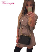 2017 Autumn Women Long Sleeve Elegant Slim Mini Shirt Dress Female Fashion Coffee Color Vestidos Without Belt