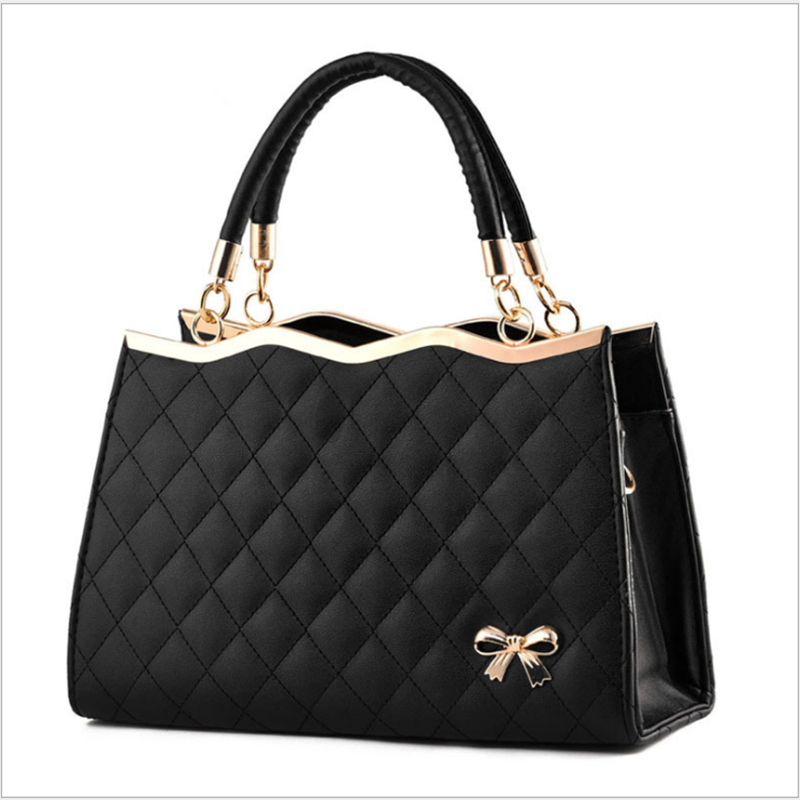 Casual Bow Women Leather Handbag Women\\'S Korean Tote Bags Messenger Shoulder Bags Ladies Luxury