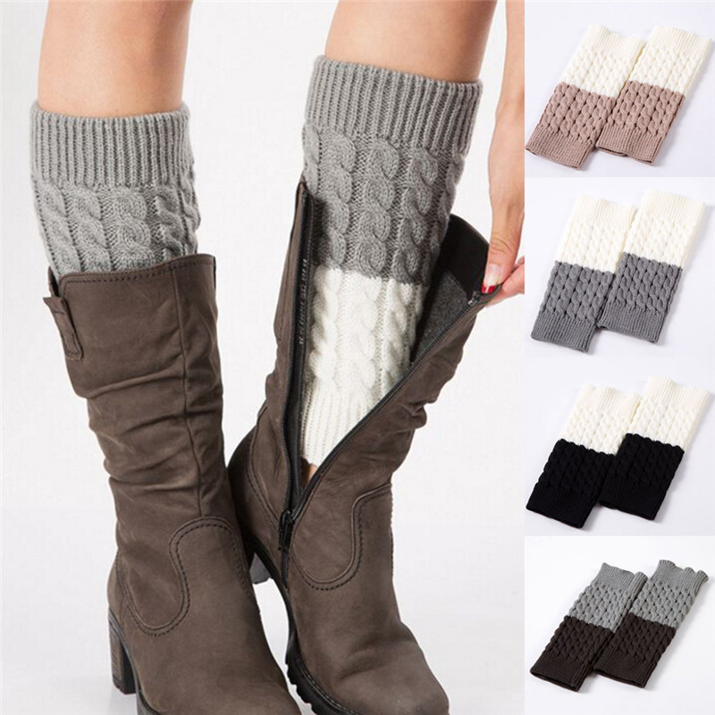 Chic 1 pair Stretch Boot Cuffs Winter Short Crochet Grain Shell Knit Leg Warmers Women Foot Cover Toppers Socks New