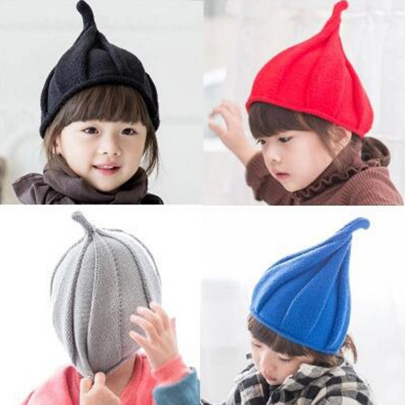 Children Hat Christmas 1-8Y Baby Girls Boy Autumn Winter Weatherization Pointy Kids Knitted Hats Cap Tide Shall Windmill