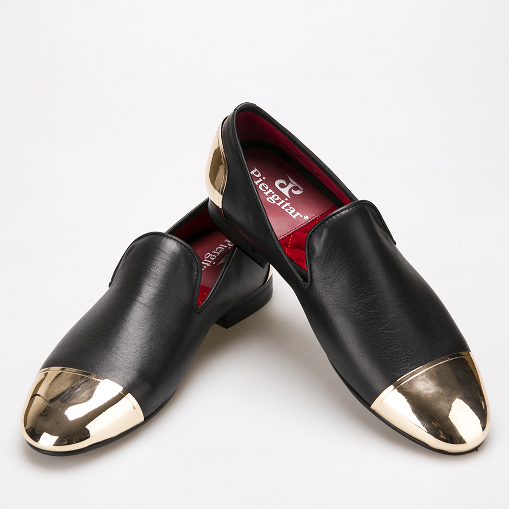 Handmade Black Genuine Leather men shoes with front and back gold metal Fashion mens leather shoes