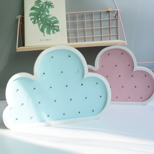 Wooden Cloud LED Lamp Pink Home Decoration For Kids Scandinavia Style Home Decor Light Wall Decoration For Children Bedroom