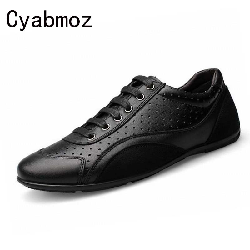 Genuine Leather Men Casual Shoes Male New Fashion Breathable Flat Heel Boats Shoes For Men Driving Shoes Big Size 45 46 47 48