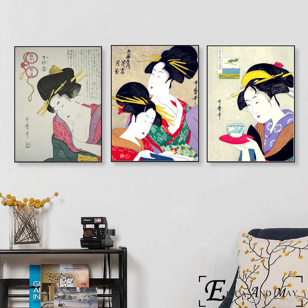 Geisha Japanese Artwork Vintage Poster Prints Oil Painting On Canvas Wall  Art Murals Pictures For Living Room Decoration On Sale