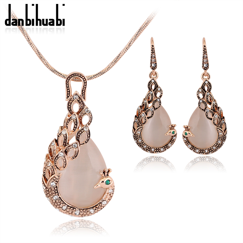Gold Color Opal Peacock Jewelry Sets Wedding Women Cz Crystal Necklace Set Fashion Bridal Earrings Accessories