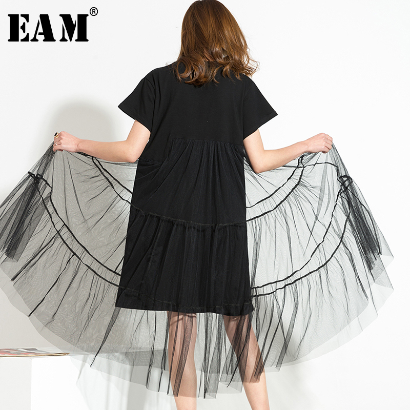 [EAM] Women Black Temperament Irregular Mesh Dress New Round Neck Long Sleeve Loose Fit Fashion Tide Spring Summer 2020 3361L