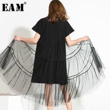 [EAM] vestido negro de malla Irregular con temperamento, cuello redondo, manga larga, corte holgado, moda, primavera, verano, 2020, 3361L