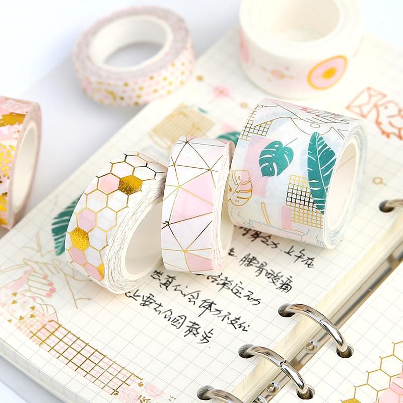 Geometric Honeycomb Pink Foil Masking Washi Tape Decorative Adhesive Tape Decor Diy Scrapbooking Sticker Label Stationery