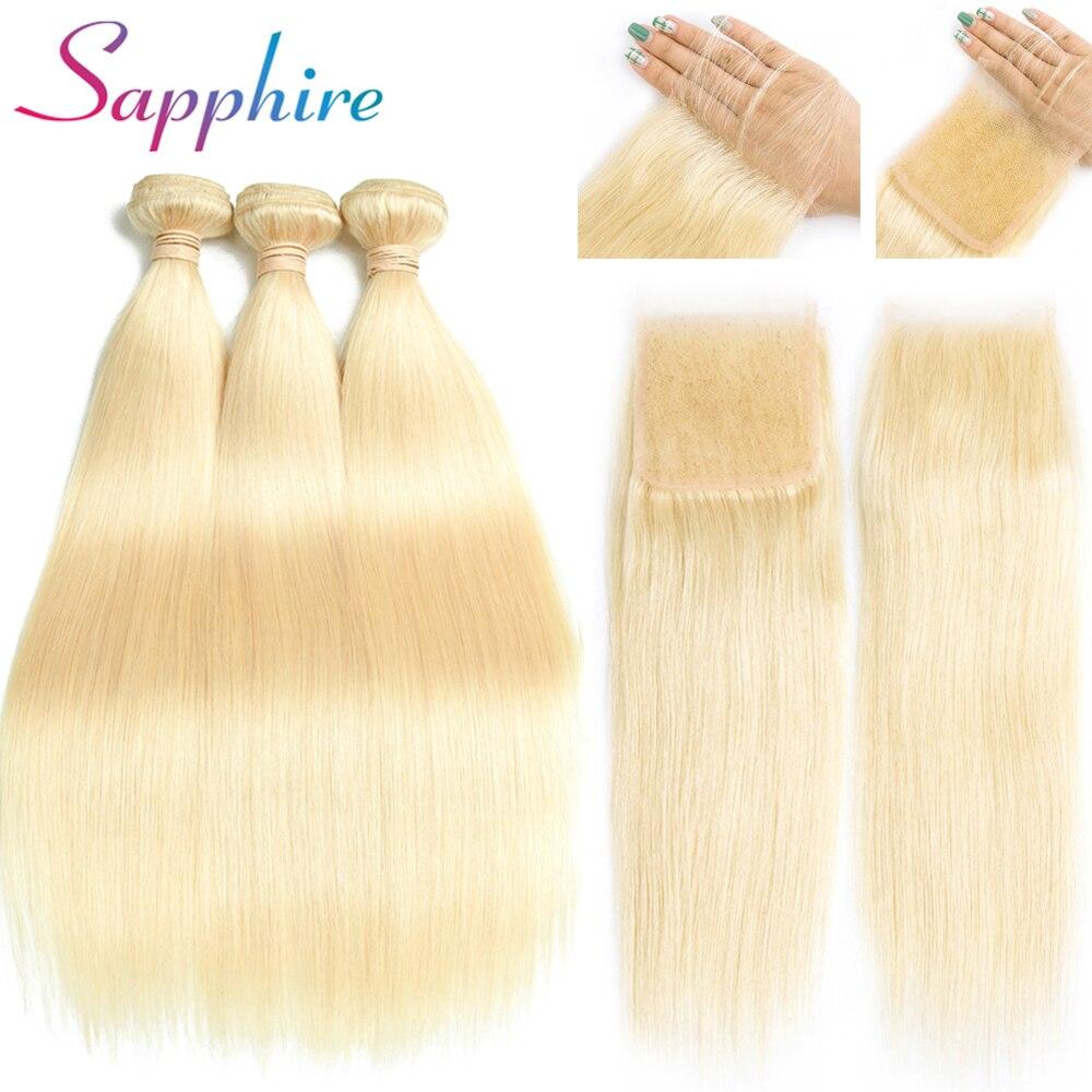 Cheveux brésiliens d'extension de cheveux de saphir empaquettent les paquets 613 blonds avec la fermeture paquets droits de cheveux humains avec la fermeture
