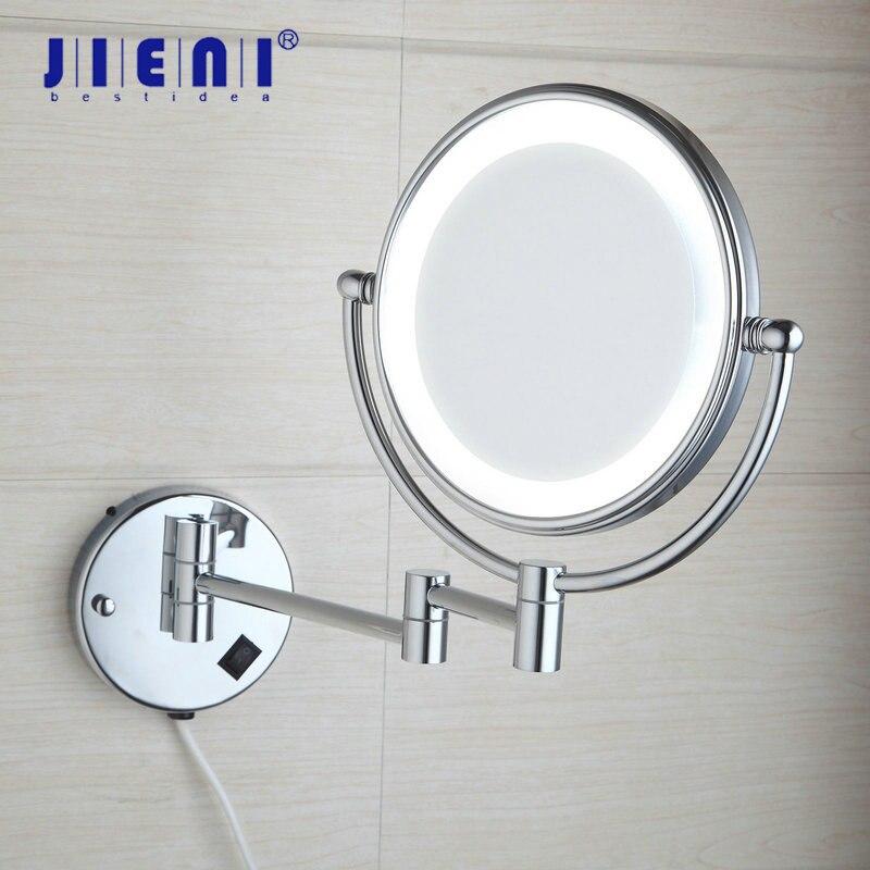 JIENI Chrome Black Makeup Mirrors LED Wall Mount Extending Folding Double Side Light Mirror 3x Magnification