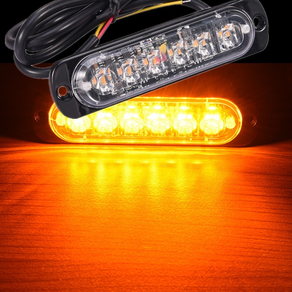 Led high quality 6 led r5 car emergency beacon light bar 3w amber led high quality 6 led r5 car emergency beacon light bar 3w amber led strobe light 19 flashing modes led fog light in car light assembly from automobiles aloadofball Images