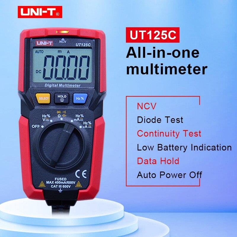 UT125C handheld bolso multímetro digital AC/DC Voltage tester multimetro Cap uni-t Amp Ohm Hz NCV