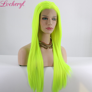 Image 4 - Lvcheryl Natural Long Silky Straight Neon Yellow Color Heat Resistant Synthetic Lace Front Wigs Cosplay Party Makeup Wigs