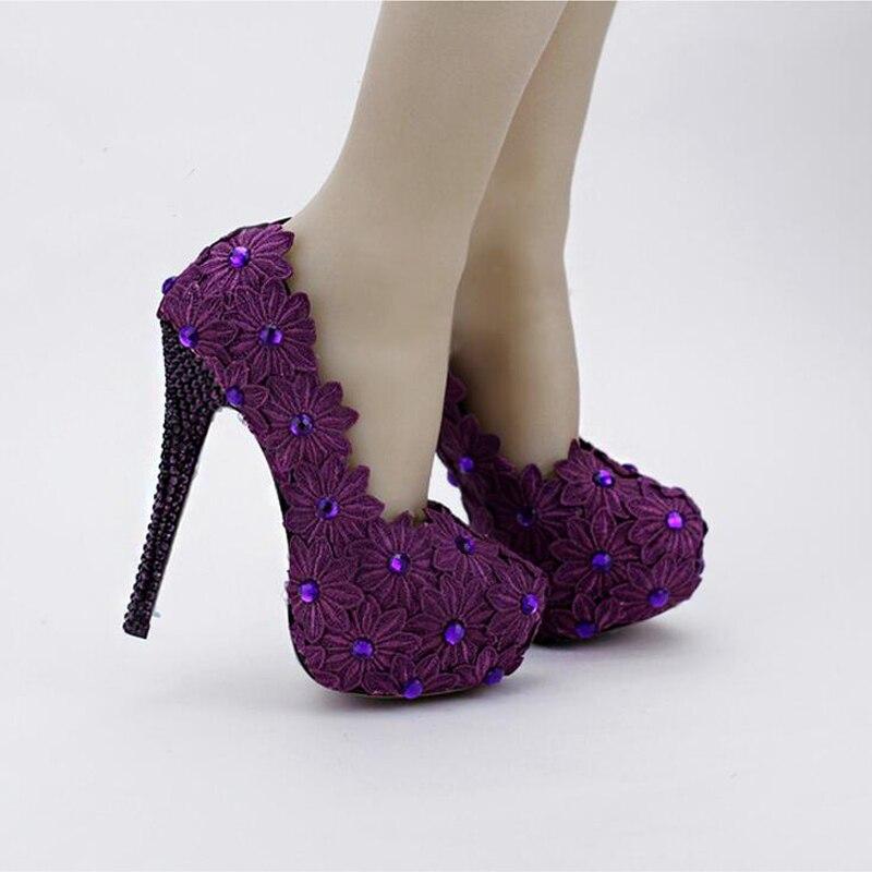 Cordón Vestir Purple 12cm Mujeres Novia Heels Heels Alto Cm Tacones Diseñador Altos Graduación Púrpura 14 Del Zapatos Flor purple Fiesta La Bombas Aguja 10cm Formales De Tacón 14cm PqY1F
