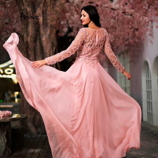 Finove 2019 Evening Dresses Gowns Beaded Long Sleeve Prom Dress Chiffon A Line Floor Length Ladies Gowns Vestido de Festa Longo