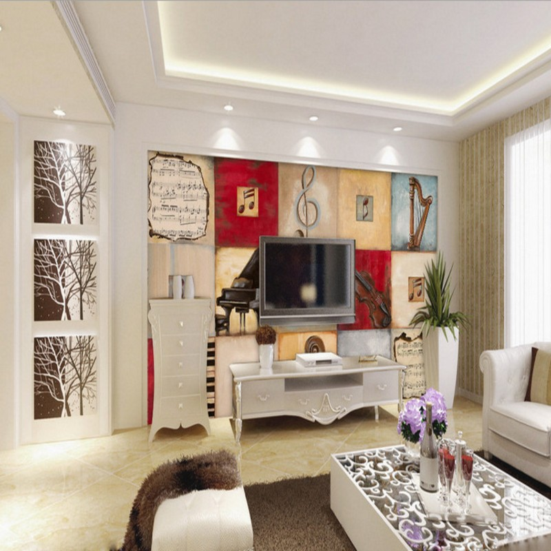 Wallpaper 3d Piano Music Retro Oil Painting Mural Restaurant Living Room Bedroom Hotel Studio In Wallpapers From Home Improvement On
