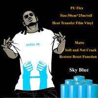 PU Flex heat transfer vinyl for clothing sky blue matte heat press heat transfer film restore reset vinyl plotter 50cm*25m/roll